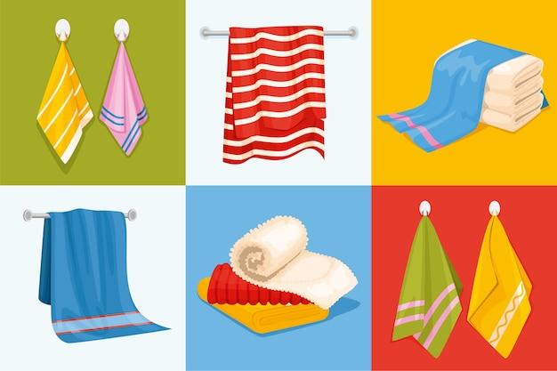 Handtuchdesignkonzept mit sechs quadratischen kompositionen mit gestapeltem und hängendem handtuch