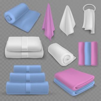 Handtuchstapel. gestapelte luxushandtücher aus baumwolle, gerollt und aufgehängt für bad oder spa, strand oder küche, weiche textilhygieneartikel realistischer vektor auf transparentem hintergrund