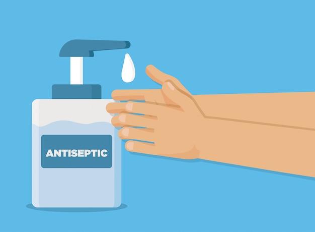 Handwäsche-gel-illustration. pflege der desinfektionsflasche. hygienehand