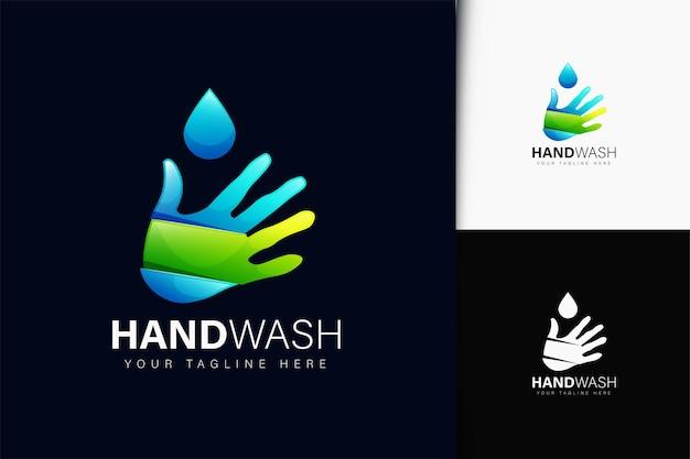 Handwäsche-logo-design mit farbverlauf