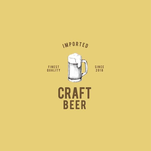 Handwerk bier logo design vektor