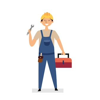 Handwerker, der schraubenschlüssel-kofferwerkzeuge hält