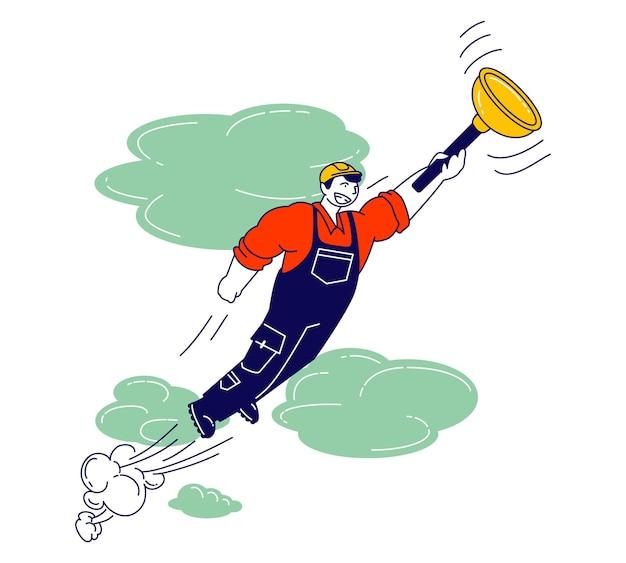 Handwerker, die einen helm tragen und overalls tragen, halten einen riesigen kolben in der hand, der wie ein superheld im himmel fliegt, um menschen mit haushaltsaufgaben und gebrochener technik zu helfen. karikatur flache illustration