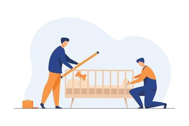 Handwerker, die kinderbett im zimmer installieren. montage, werkzeug, arbeiter flache vektorillustration. möbel und geburt