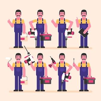 Handwerker hält hammerbohrer-schraubendreher-koffer und verschiedene gegenstände zeichensatz