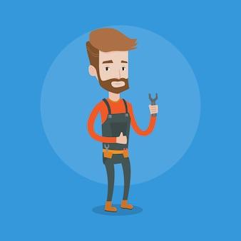 Handwerker hält schraubenschlüssel.