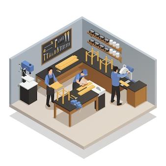 Handwerker-leute-isometrische zusammensetzung
