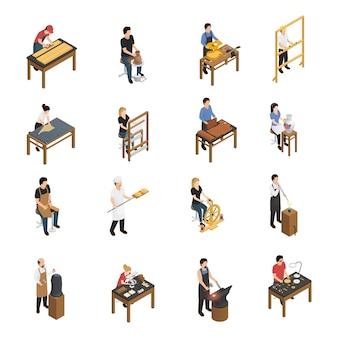 Handwerker menschen isometrische set
