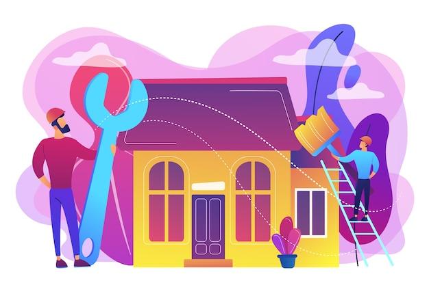 Handwerker mit großem schraubenschlüssel, der haus repariert und mit pinsel malt. diy-reparatur, do-it-yourself-service, self-service-lernkonzept. helle lebendige violette isolierte illustration