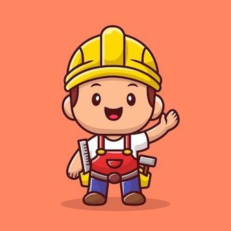 Handwerker mit lineal und hammer-symbol-illustration. people profession icon konzept.