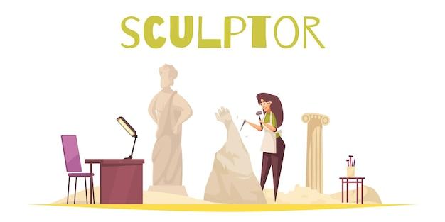 Handwerker mit schneider und künstler flach isoliert illustration eingestellt,