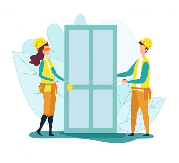 Handwerker oder tischler, die uniform arbeiten