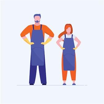 Handwerker und handwerkerin stehend