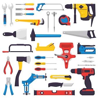 Handwerkzeugbau handwerkzeuge hammerzange und schraubendreher der werkzeugkastenillustration werkstatt-satz von tischlerschlüsselschlüssel und handsäge lokalisiert auf weißem hintergrund
