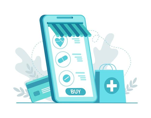 Handy-app für internet-apotheken-shopping mit karte gesundheitsanwendung auf dem smartphone
