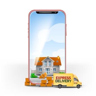Handy-bildschirm mit express-hauszustellung und briefkasten voller kisten. vorgefertigte vorlage für lieferservices