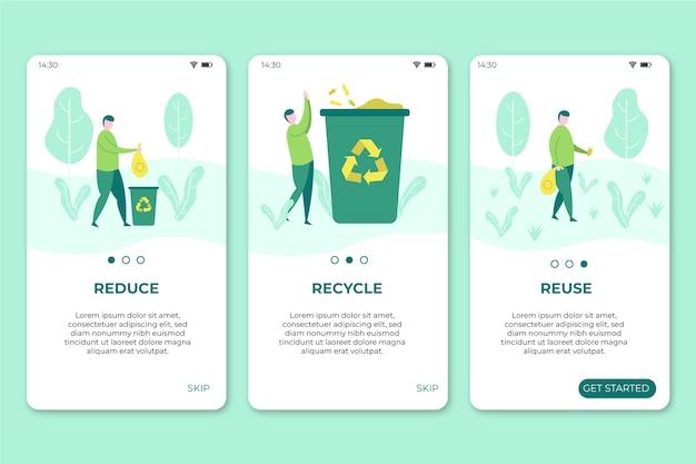 Handy-bildschirme mit recycling-app