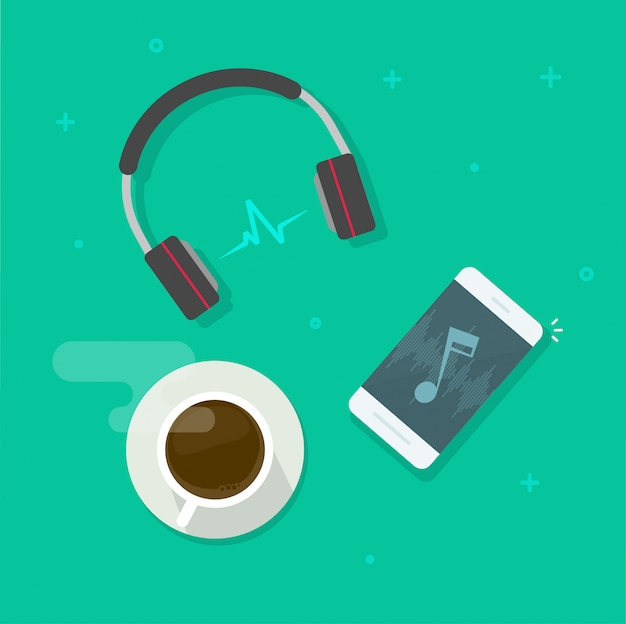 Handy, der musik über flache karikatur der drahtlosen kopfhörervektor-illustration spielt