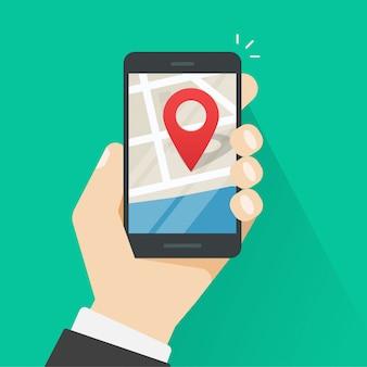 Handy geo standort oder smartphone gps-navigator auf flacher karikatur des stadtplan-vektors