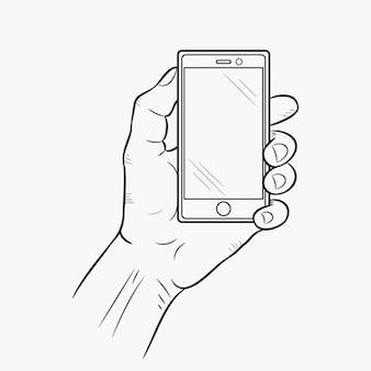 Handy in der hand, vorderansicht. vektor-illustration.