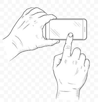 Handy in der vorderansicht der hände. skizze der menschlichen hand, die leeres smartphone hält. handy leerer touchscreen.