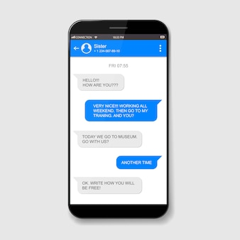 Handy live-chat-boxen. messenger-fenster