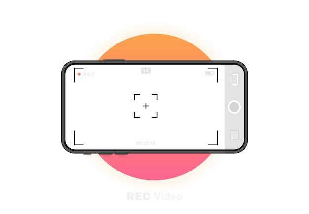 Handy mit aufnahmekamera. sucher-vorlage. k videoaufnahmerahmen mit telefonauflösung. videoaufzeichnungsbildschirm. grafik .