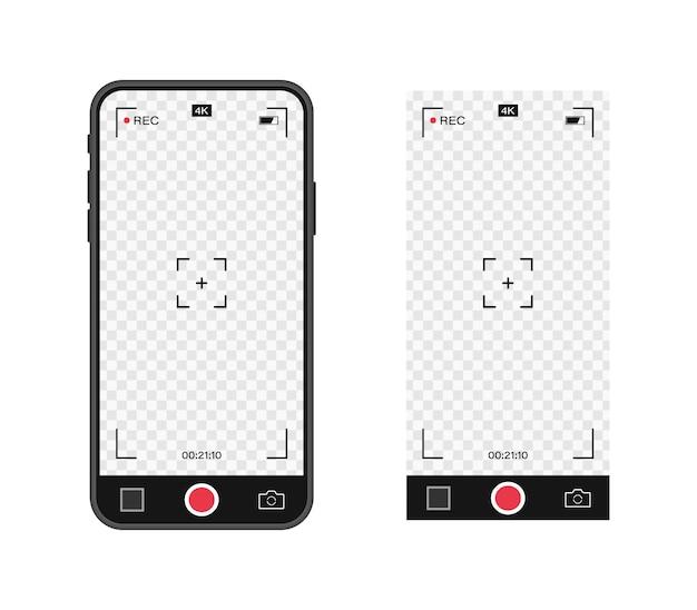 Handy mit aufnahmekamera. sucher-vorlage. videoaufnahmerahmen mit 4k-telefonauflösung. videoaufzeichnungsbildschirm.