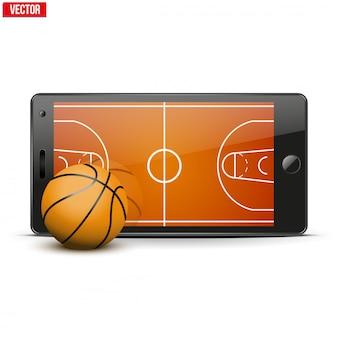 Handy mit basketballball und feld auf dem bildschirm.