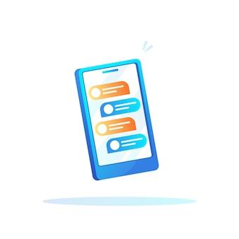 Handy mit chat im farbverlaufsdesign