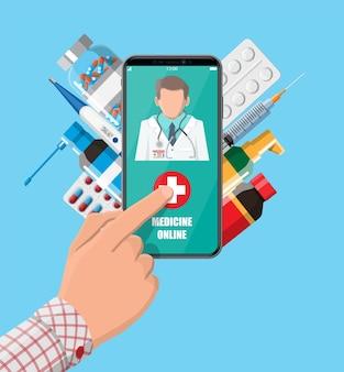 Handy mit internetapotheke-shopping-app. pillen und flaschen, medizin online. medizinische hilfe, hilfe, online-unterstützung. gesundheitsanwendung auf dem smartphone. vektorillustration im flachen stil