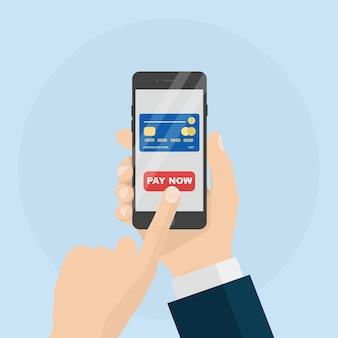 Handy mit kredit- oder debitkartenillustration