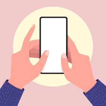 Handy mit leerem bildschirm in zwei händen halten.