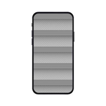 Handy mit leeren regalen für online-shop-modell