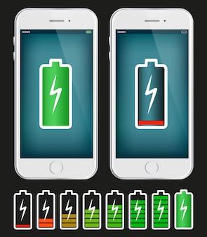 Handy mit niedriger und voller Batterie