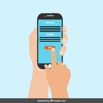 Handy mit pay-schaltfläche auf dem bildschirm