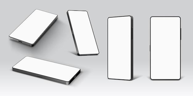 Handy-modell. realistisches smartphone-gerät mit leerem bildschirm in liegender und stehender seiten- und vorderansicht. handy-vorlagen-vektor-set