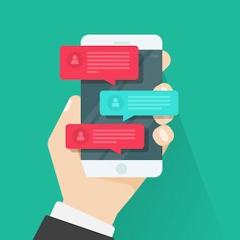 Handy oder smartphone mit flacher karikatur des chatmitteilungs-mitteilungsvektors