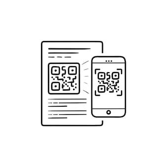 Handy scannt qr-code handgezeichnete umriss doodle symbol. digitale technologie, qr-code-reader-app-konzept. vektorskizzenillustration für print, web, mobile und infografiken auf weißem hintergrund.