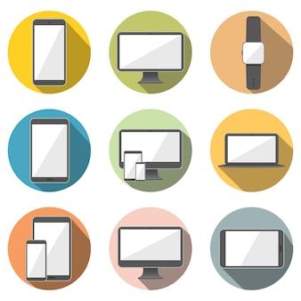 Handy, Tablet-Computer, Computer-Bildschirm, Laptop und Smart Watch flache Icon