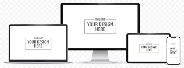 Handy-tablet-pc-computer-monitor und laptop-vektor-illustration-set