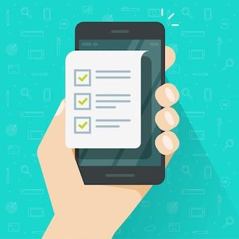 Handy- und checklistenformular oder mobiltelefonpapierdokument und flache karikatur der listencheckboxillustration tun