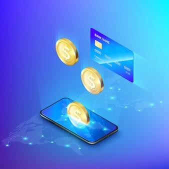 Handy und fallende goldmünze kreditkarte. konzept des online-bankgeschäfts oder der einzahlung von geld isometrisch.