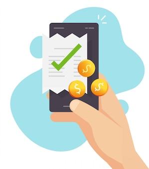 Handy-zahlungs- und quittungsabrechnungsabrechnung mit geld oder smartphone-barzahlungstransaktionsvektor flache karikaturillustration