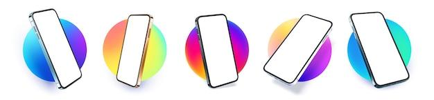 Handymodell 3d-smartphone-bildschirm mit farbverlaufskreishintergrund