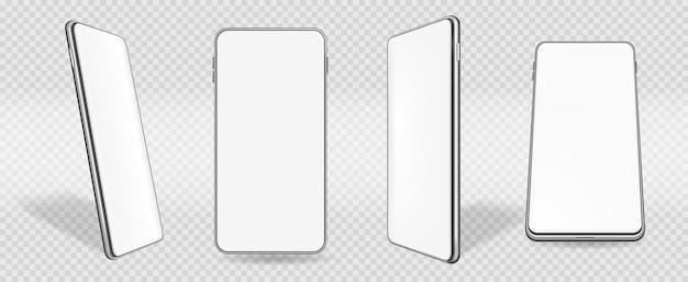 Handymodell-smartphone mit weißem bildschirm im perspektivischen vektorsatz
