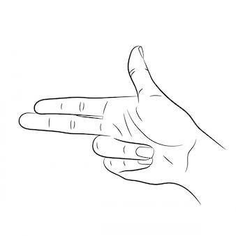 Handzeichen in form eines gewehrs auf weiß von vektorillustrationen