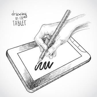 Handzeichnung auf dem tablet