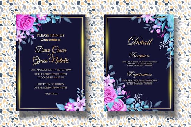 Handzeichnung blumenhochzeitseinladungsschablone mit schönen blumen