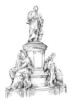 Handzeichnung der europa-skulptur